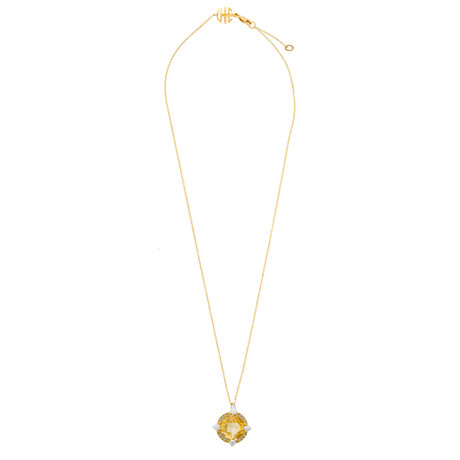 Mimi Milano 18k Two-Tone Gold Citrine + Diamond Pendant Necklace