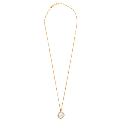 Mimi Milano 18k Two-Tone Gold Diamond + Rock Crystal Pendant Necklace