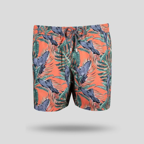 Macaw All Over Swim Short // Coral (S)