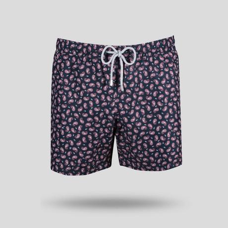 Paisley All Over Swim Short // Navy + Blue (S)