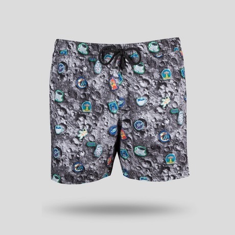 Crater All Over Swim Short // Gray (XS)