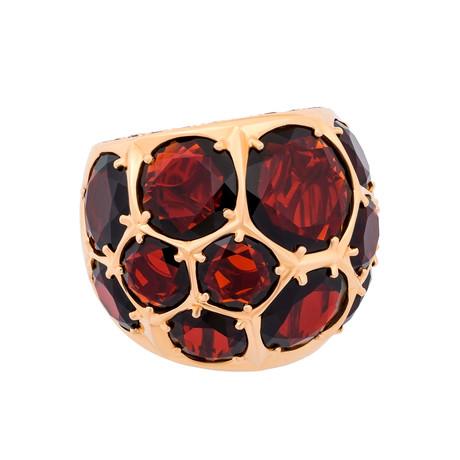 Mimi Milano 18k Rose Gold Garnet + Cognac Diamond Ring // Ring Size: 7