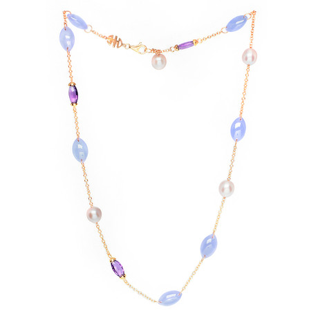 Mimi Milano 18k Rose Gold Multi-Stone Necklace