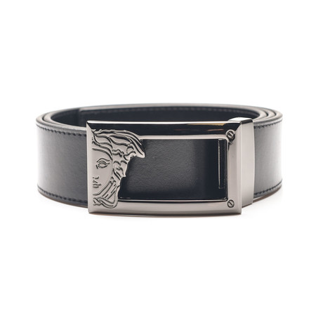 Medusa Steel Buckle Leather Belt Negative Space // Black (32)