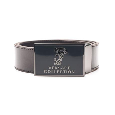 Stainless Steel Buckle Medusa Sleek Leather Belt // Brown (34)