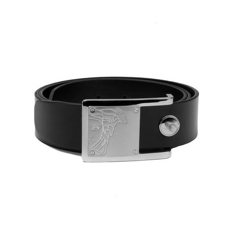 Medusa Steel Buckle Sleek Leather Belt // Black (36)