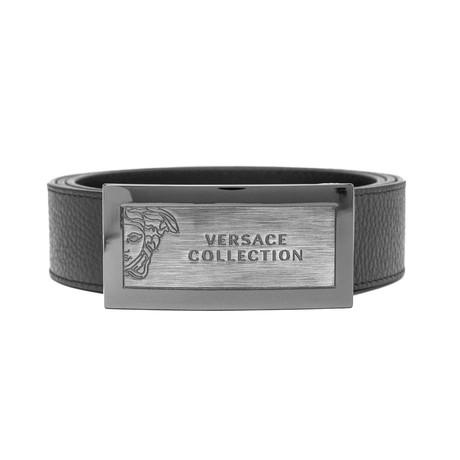 Medusa Stainless Steel Logo Buckle Pebble Leather Belt // Black (36)