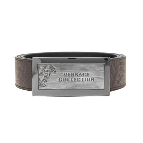 Medusa Stainless Steel Logo Buckle Pebble Leather Belt // Brown (36)