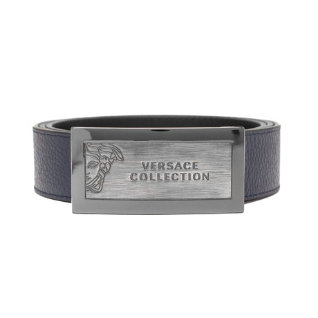 Versace // Medusa Stainless Steel Logo Buckle Pebble Leather Belt // Blue (Size: 36)