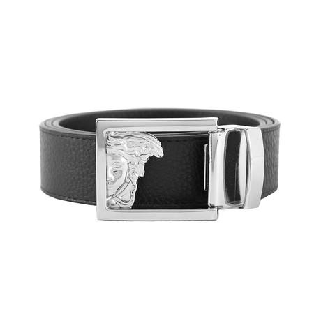 Medusa Stainless Steel Buckle Pebble Textured Leather Belt // Black (36)