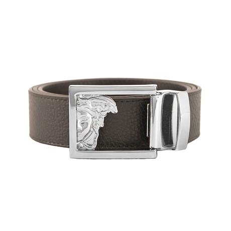 Medusa Stainless Steel Buckle Pebble Leather Belt // Brown (36)