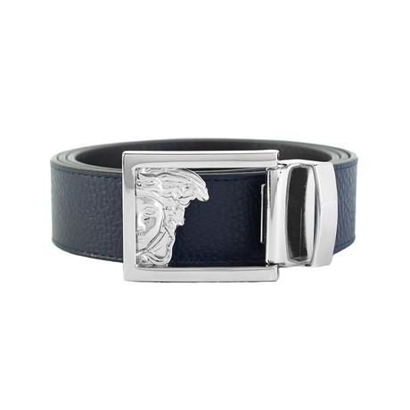 Medusa Steel Buckle Slightly Textured Leather Belt // Navy Blue (34)