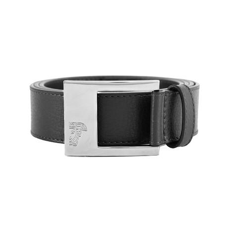 Medusa Stainless Steel Buckle Slight Pebble Leather Belt // Black (36)
