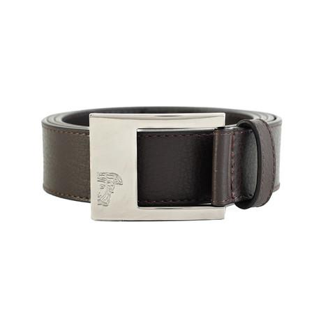 Medusa Steel Buckle Leather Belt V2 // Brown (36)