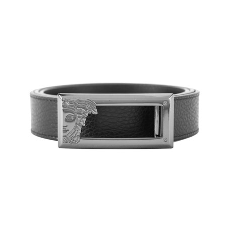 Versace // Medusa Stainless Steel Long Horizontal Buckle Pebble Leather Belt // Black (Size: 36)