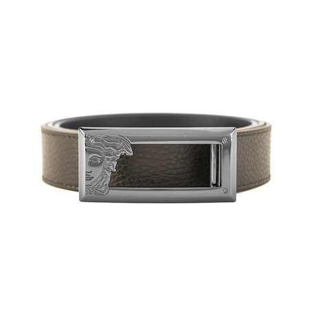 Versace // Medusa Stainless Steel Long Horizontal Buckle Pebble Leather Belt // Brown (Size: 36)