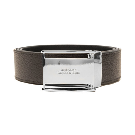 Versace // Stainless Steel Logo Buckle Pebble Leather Belt // Brown (Size: 36)