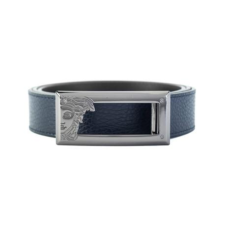 Medusa Steel Long Horizontal Buckle Leather Belt // Navy Blue (36)