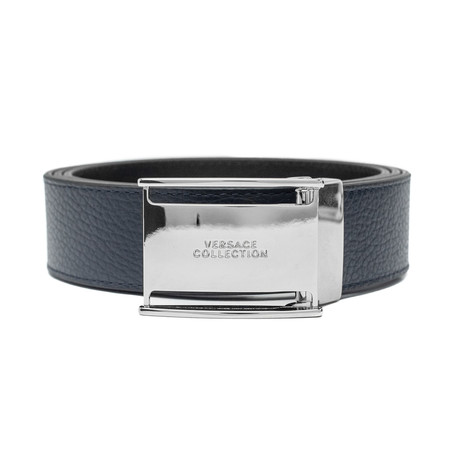 Stainless Steel Logo Buckle Pebble Leather Belt // Blue (36)
