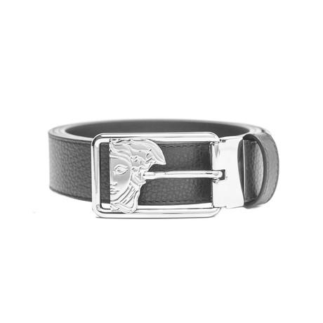 Medusa Stainless Steel Buckle Pebble Leather Belt // Black (34)