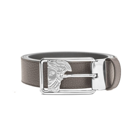 Versace // Medusa Stainless Steel Buckle Pebble Leather Belt // Light Brown (Size: 36)