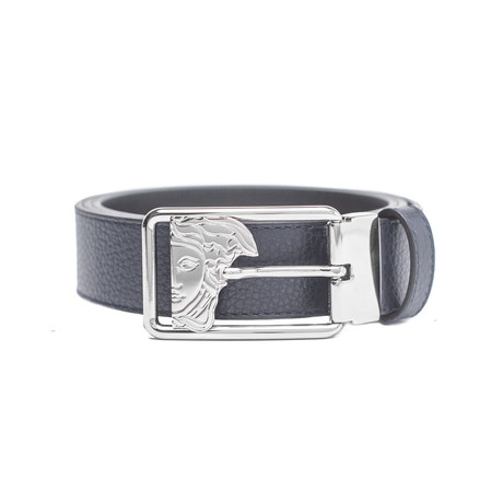 Versace // Medusa Stainless Steel Buckle Pebble Leather Belt // Blue (Size: 36)