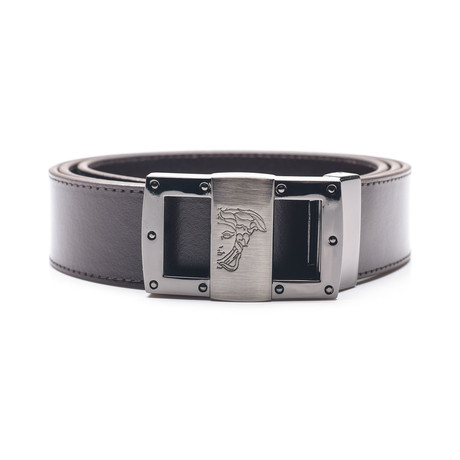 Medusa Stainless Steel Buckle Smooth Leather Belt // Brown (34)