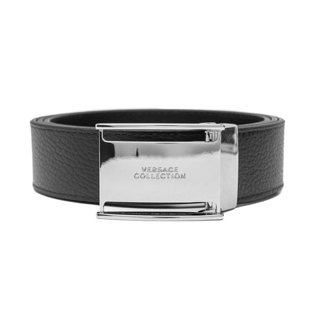 Versace // Stainless Steel Logo Buckle Pebble Leather Belt // Black (Size: 36)