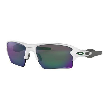 Flak 2.0 Xl Team Colors Sunglasses // Polished White Frames + Prizm Jade Lenses