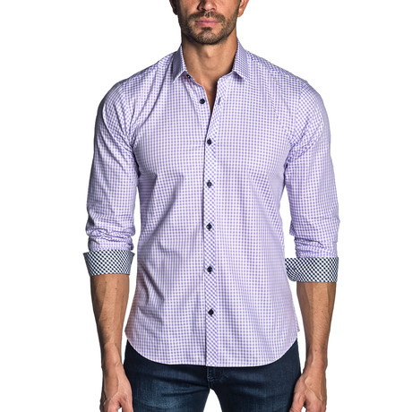 Ethan Check Long Sleeve Shirt // Purple (XS)