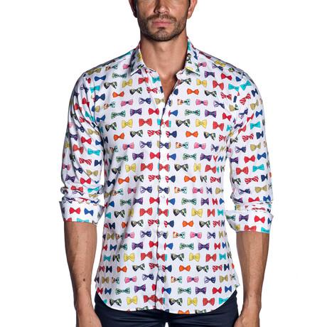Long Sleeve Shirt // White Multi Bows (S)