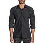 Star Print Long Sleeve Shirt // Black + Multicolor (XL)