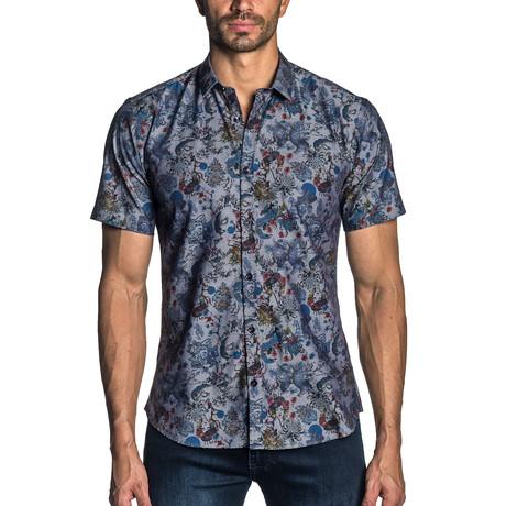 Short Sleeve Button-Up Shirt // Grey Print (S)