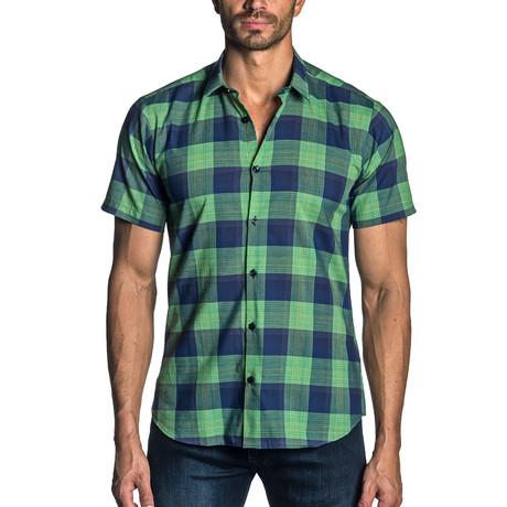Short Sleeve Shirt // Green + Navy Check (S)
