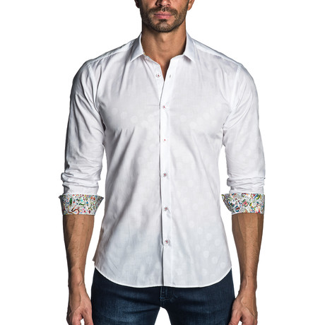Charles Long Sleeve Shirt // White Jacquard (XS)