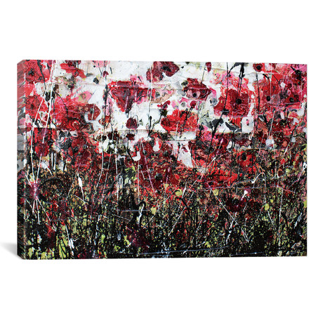 "Blabk Poppies And Love (26""W x 18""H x 0.75""D)"