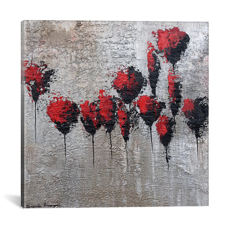 "The Gold Letter - Poppies (18""W x 18""H x 0.75""D)"