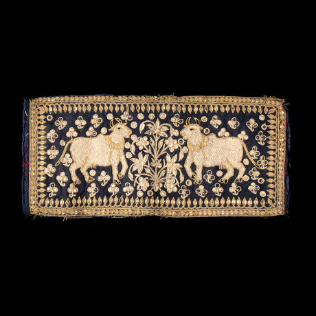 Gold + Silver Thread Embroidery of Kamadhenu // India // 20th Century CE
