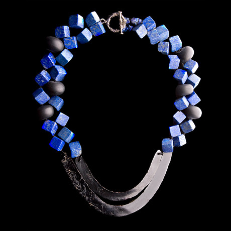 Lapiz-lazuli, Black Onyx Beads, and Aztec Flints Necklace // Mexico // 1300-1521 CE