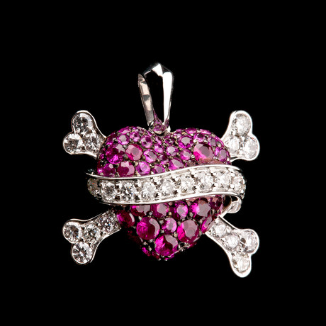 Ruby Heart Pendant with Diamonds // France
