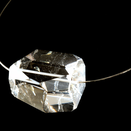 Marquise Pendant of Quartz + Lodolite Inclusions on Italian Granulated Silver String Necklace
