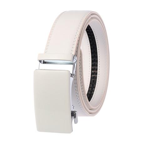 Jacob Leather Belt // White Belt + White Buckle