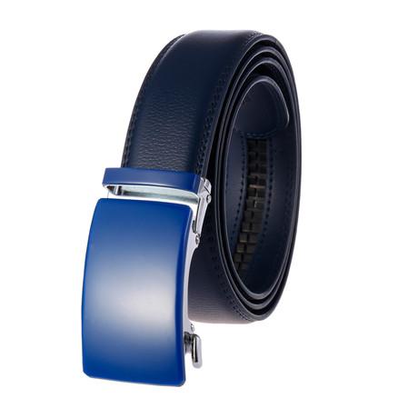 Kristian Leather Belt // Blue Belt + Blue Buckle
