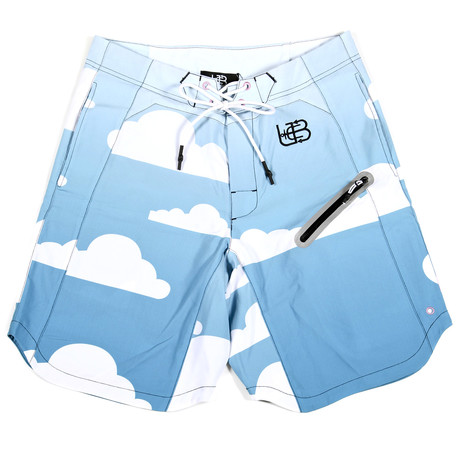 Powder Blue Clouds Trunks // Blue + White + Pink (S)