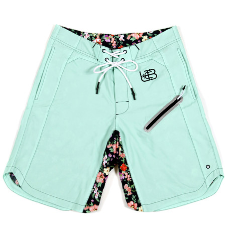 Sky Flower Trunks // Teal + Floral + Black (S)