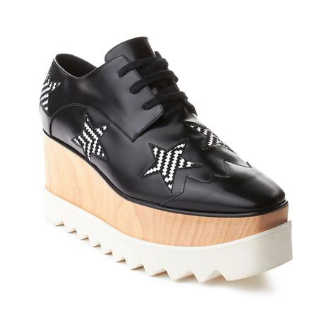 Stella McCartney // Elyse Brogue Platform Creeper Shoes // Black + White (US: 6)
