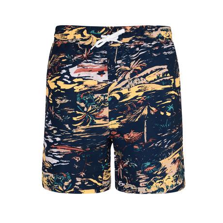 Legace Hawaiian Print Swim Shorts // Black (S)