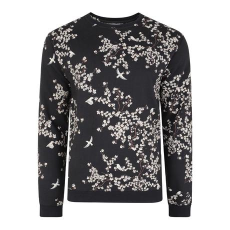 Perette Printed Crew Neck Sweatshirt // Black Olive (S)