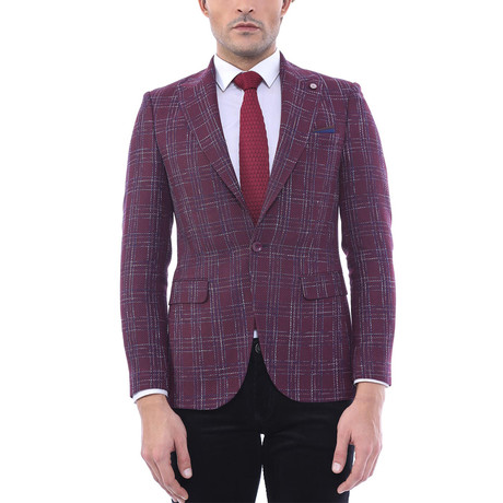 Max Slim Fit Blazer // Burgundy (Euro: 44)