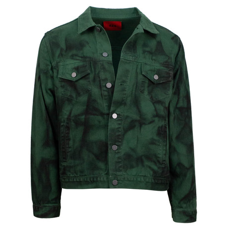 424 // Armes Painted Trucker Jacket // Green (XS)